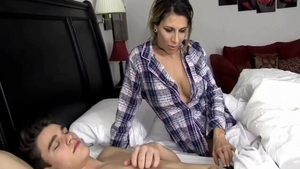 Naughty busty stepmother rough cheating live on webcam