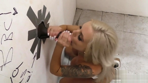 Gangbang together with big tits whore Nina Elle in the toilet