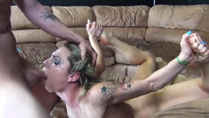 Shaved blonde babe in glasses rough masturbating