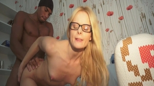 Sex scene escorted by very hot russian nerdy