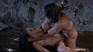 Pussy fucking in a car amongst shaved hooker