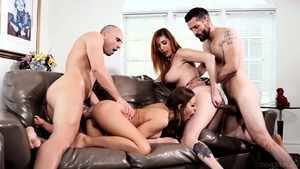 Orgy in the company of big tits chick