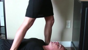 Awesome babe sniffing in office