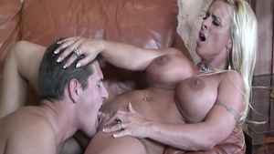 Dick sucking in the company of shaved blonde Holly Halston