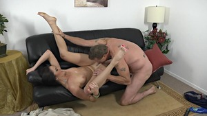 Rammed hard on sofa starring very sexy MILF