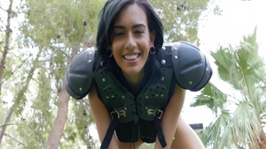 Sexy and big tits brunette Janice Griffith rough dick sucking