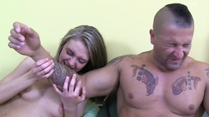 Hard pounding together with super thin couple