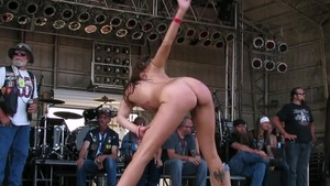 Contest in public along with Naked biker