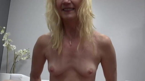 Loud sex accompanied by small tits granny