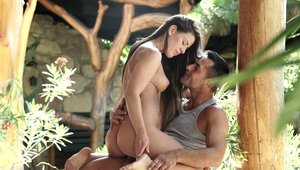 Young sexy goddess Athina Love cumshot outdoors