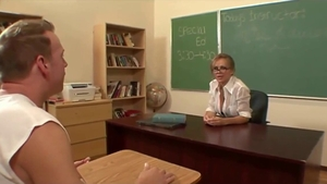Shaved teacher pussy licking in school