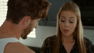 Britney Amber swallow in the kitchen