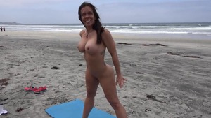 Busty nude mature flashing in public