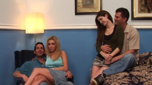 Foursome escorted by skinny brunette Vivian West