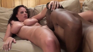 Cumshot next to busty bride in sexy lingerie