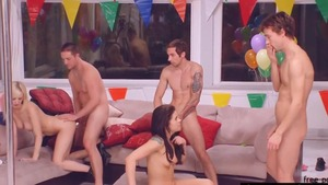 Teen chick Cherry Torn alongside Taylor Russo group sex
