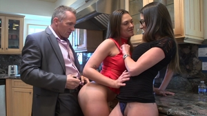Threesome together with hairy tattooed british MILF