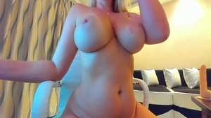 Busty blonde babe homemade sex toys on live cam