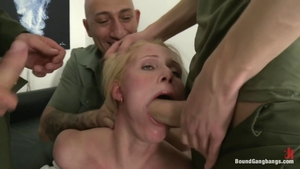 Gangbang along with tattooed blonde