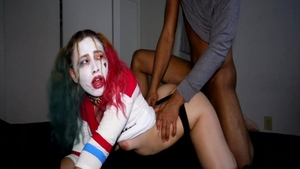 Perfect body pawg Harley Quinn feels up to nailed rough