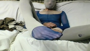 Masturbating together with young in pantyhose