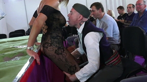 Toys next to huge boobs german in sexy lingerie in public