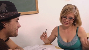 Skinny Penny Pax sucking cock in school