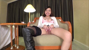 Female japanese playing with sex toys at casting solo