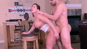 Nailing in company with huge boobs mature