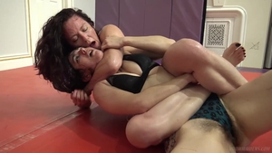 Lesbo pussy eating in the gym