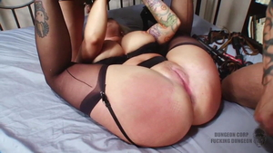 Hogtied together with huge tits mature Annie Cruz