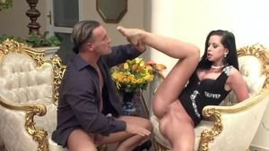 Horny and big tits brunette Larissa Dee sucking cock